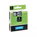 Cinta rotuladora electrónica Dymo D1 12mm negro/ transparente 7m