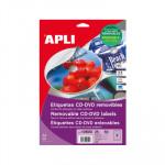 Etiquetas adhesivas para CD-DVD removibles mate Apli Mega