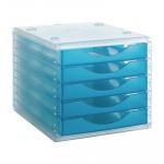 Módulo de 5 cajones translúcidos Archivo 2000 Archivotec azul mar