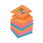 Bloc de notas adhesivas Post-it Z-Notes Super Sticky colores Bangkok 76x76mm