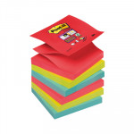 Bloc de notas adhesivas Post-it Z-Notes Super Sticky colores Bora-Bora 76x76mm R330-6SS-JP