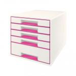 Módulo de cajones Leitz Wow Desk Cube 5 cajones blanco y fucsia metalizado