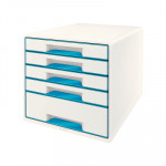 Módulo de cajones Leitz Wow Desk Cube 5 cajones blanco y azul metalizado