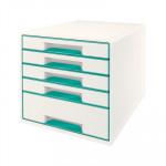 Módulo de cajones Leitz Wow Desk Cube 5 cajones blanco y turquesa metalizado