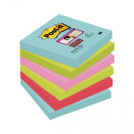 Bloc de notas adhesivas Post-it Super Sticky colores Miami 76x76mm