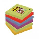 Bloc de notas adhesivas Post-it Super Sticky colores Marrakesh 76x76mm pack de 6