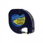 Cinta rotuladora electrónica Dymo Letratag 12mm plástico, negro/amarillo 4m