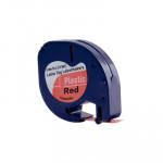 Cinta rotuladora electrónica Dymo Letratag 12mm plástico, negro/rojo 4m