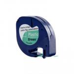 Cinta rotuladora electrónica Dymo Letratag 12mm plástico, negro/verde 4m