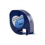 Cinta rotuladora electrónica Dymo Letratag 12mm plástico, negro/azul 4m