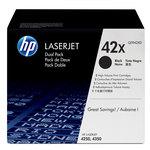 Pack de 2 cartuchos tóner HP 42X de alta capacidad negro 20000/20000 páginas